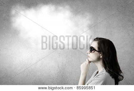 Young woman in casual with blank speech bubble above