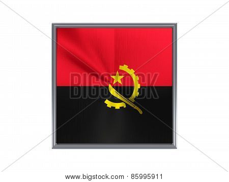 Square Metal Button With Flag Of Angola