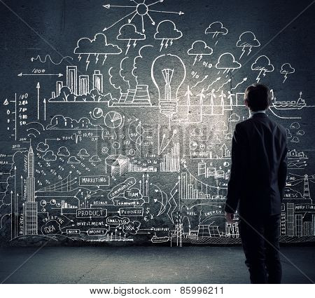 Rear view of businessman looking at chalk sketches on wall