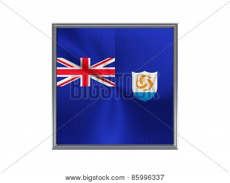 Square Metal Button With Flag Of Anguilla
