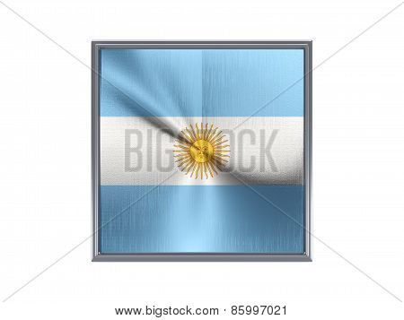 Square Metal Button With Flag Of Argentina