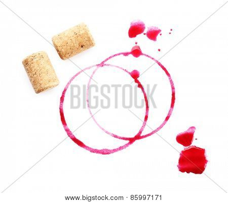 Wine stains and corks isolated on white