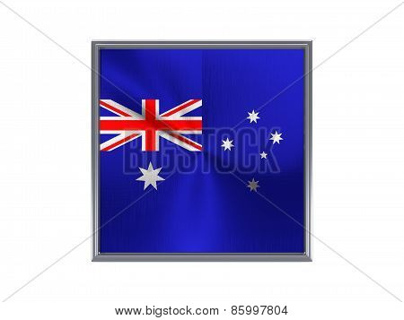 Square Metal Button With Flag Of Australia