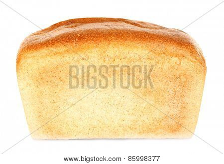 Loaf of fresh bread isolated on white