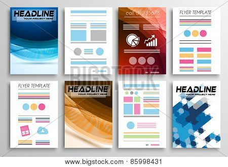 Set of Flyer Design, Infographics. Brochure Designs, Technology Backgrounds. Mobile Technologies, Web Templates and statistic Concepts and Applications covers.