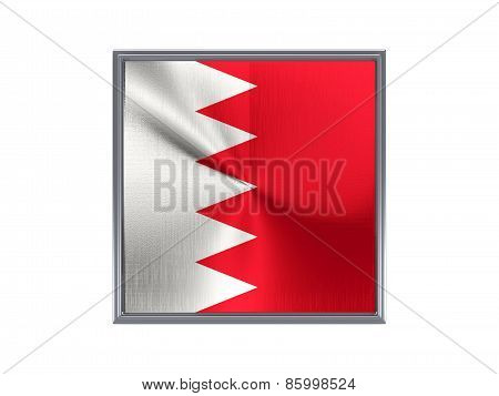 Square Metal Button With Flag Of Bahrain