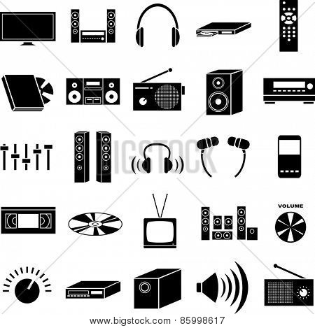 audio and video symbols set
