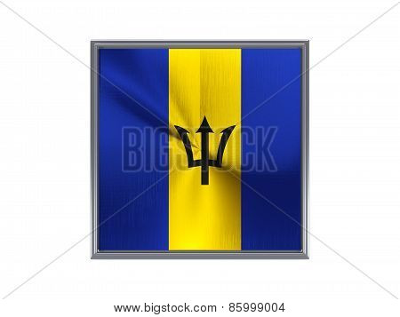Square Metal Button With Flag Of Barbados