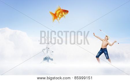 Young boy standing on cloud and throwing harpoon