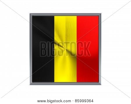 Square Metal Button With Flag Of Belgium