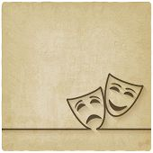 foto of comedy  - comedy and tragedy masks old background  - JPG