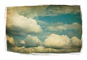Vintage Sky With Fluffy Clouds Isolated In Painted Frame On White. poster