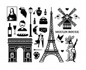 image of french culture  - Set of Paris icons - JPG