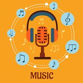 Постер, плакат: Music sound and entertainment concept