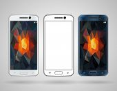 picture of edging  - Smartphones with sloped edges vector mockup - JPG