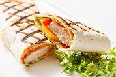 foto of sandwich wrap  - chicken wrap sandwich - JPG