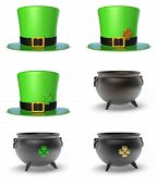 stock photo of cauldron  - St Patrick Hat and Cauldron 3D Set - JPG