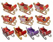 picture of santa sleigh  - Santa Sleigh Set 3D  - JPG