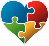 pic of broken hearted  - colorful puzzle heart vector isolated on white background - JPG