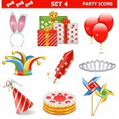 stock photo of joker  - Party Icons Set including  clown - JPG