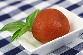 image of jamun  - Gulab jamun in white bowl - JPG