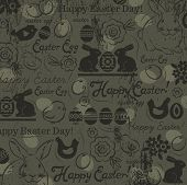 foto of easter card  - Background with bunny easter eggs flower chicks hen and 