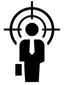 stock photo of crosshair  - Businessman under crosshair icon - JPG