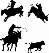 stock photo of bull riding  - vector rodeo silhouette on a white background - JPG
