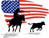 pic of bucking bronco  - vector rodeo silhouette on a white background - JPG