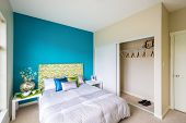 picture of master bedroom  - Modern blue bedroom interior with blue - JPG