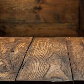 foto of ash-tree  - empty old wooden table top - JPG