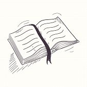 pic of sketch book  - Sketched open book desktop icon - JPG