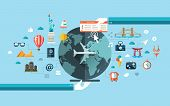 picture of world-famous  - Vector illustration of flat design travel composition with famous world landmarks icons - JPG