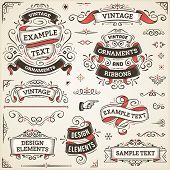 pic of bitters  - Large set of vintage vector ornaments and ribbons - JPG