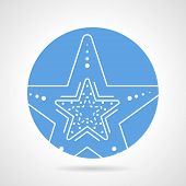 stock photo of echinoderms  - Blue round flat vector icon with white line five fingers starfish on gray background - JPG
