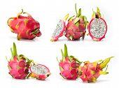 image of dragon fruit  - composite of dragon fruit  isolated on white background - JPG
