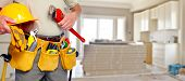 foto of tool  - Builder handyman with construction tools - JPG