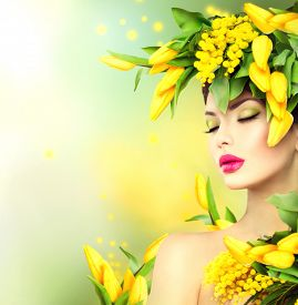 picture of mimosa  - Spring woman - JPG