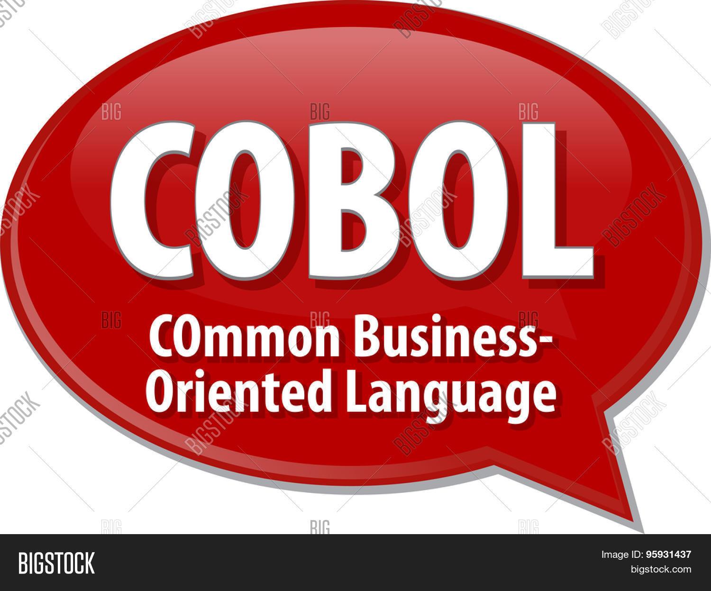 speech bubble illustration of information technology acronym speech bubble illustration of information technology acronym abbreviation term definition cobol common business oriented language