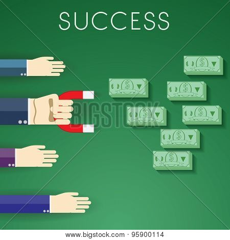Flat Design Modern Vector Illustration Of Sign Success And Money, Human Hands One Houlding Magnet Ca
