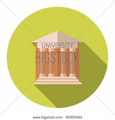 Flat Design Style Vector Illustration Concept For University Building Education Icon With Long Shado