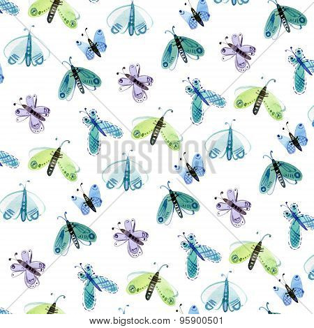 Watercolor pattern of blue and green moths