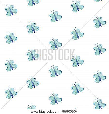 Watercolor pattern of blue moths