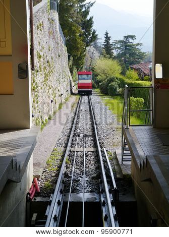 The funicular of Bergamo in Italy