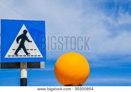 Greek Crosswalk Sign Pedestrian Crossing With Orange Globe