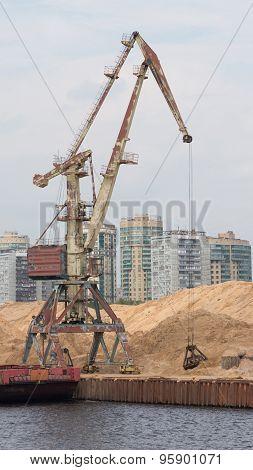 Dockside Crane Barge Ship Sand