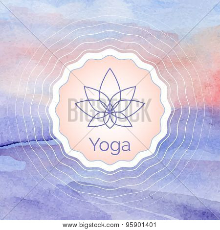 Poster for yoga class with a watercolor landscape.