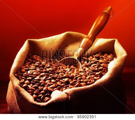 Coffee beans on burlap sack with metal scoop