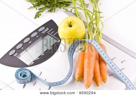 Carrots, Apple And Measuring Objects