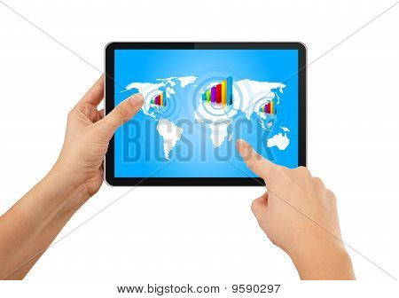 Hand Pushing Stock Growth On Tablet With Blue Earth Map